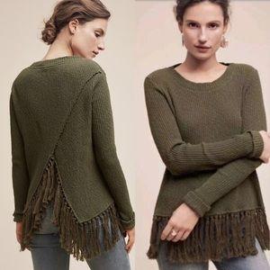 Anthropologie green fringe asymmetrical sweater